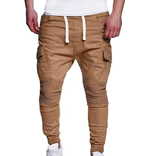 HTHJSCO Men's Twill Drop Crotch Jogger Pants, Men's Sport Joint Lashing Belts Casual Loose Sweatpants Drawstring Pant (Khaki, XXXL) by HTHJSCO