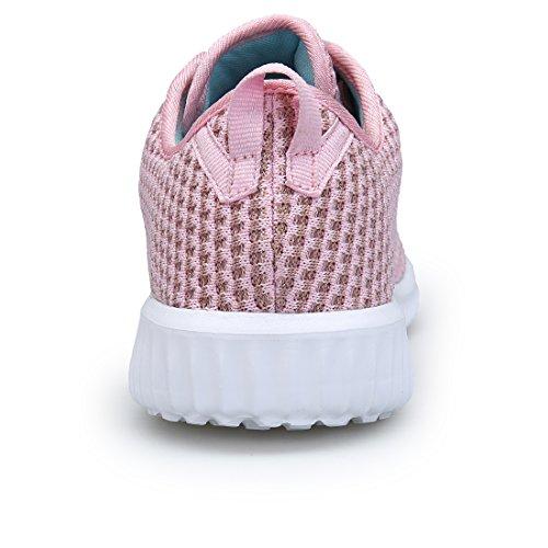 DOMOGO Leichte Schuhe Damen Sneakers Casual Sportschuhe Rosa