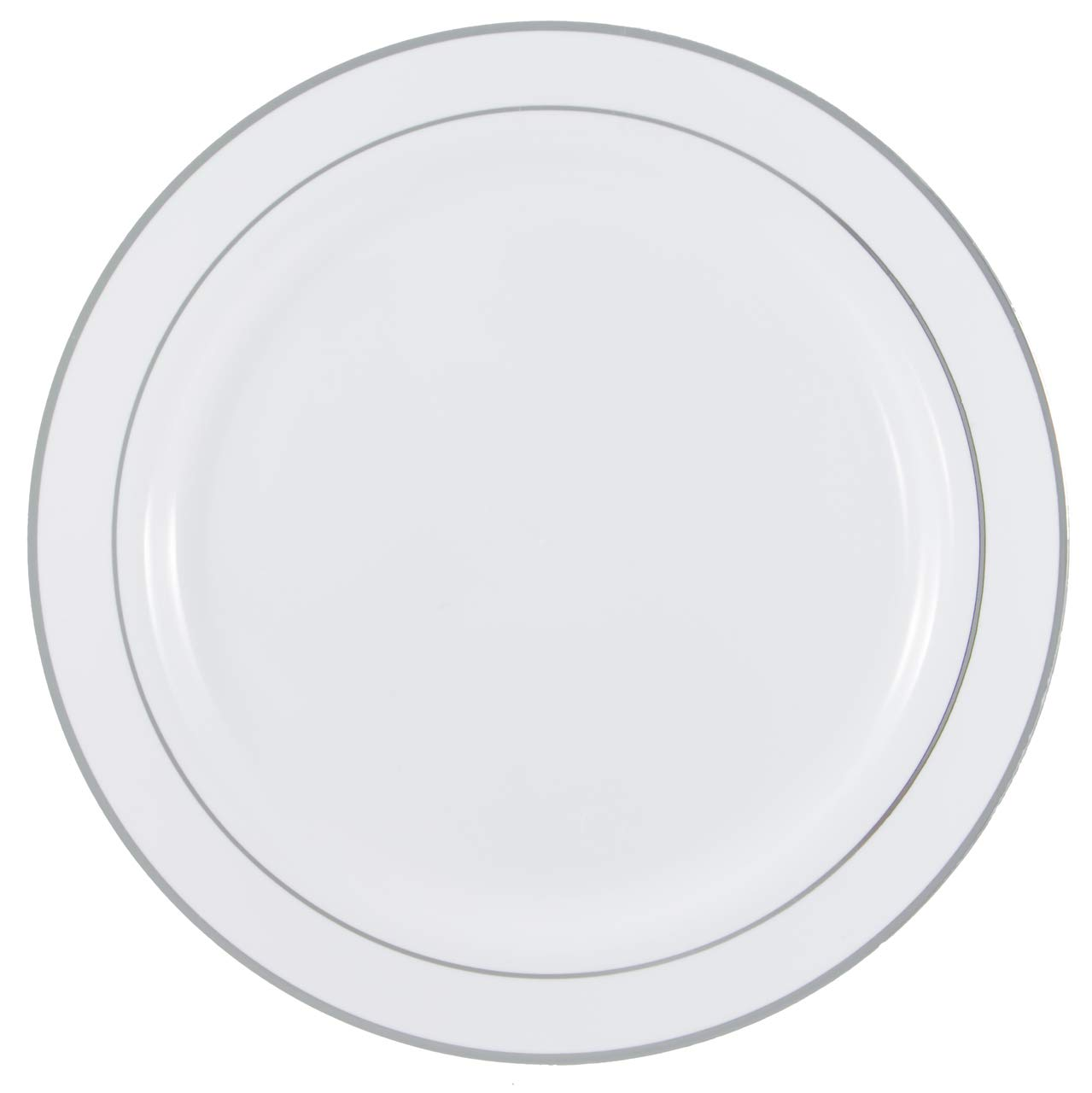 120 Pieces 9'' Elegant White, Silver Rimmed Plastic Round Plates