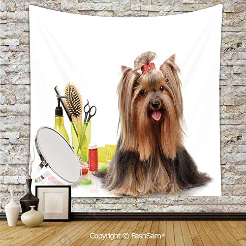 FashSam Hanging Tapestries Yorkshire Terrier with Stylish Hairdressing Equipment Mirror Scissors Decorative Wall Blanket for Living Room Dorm Decor(W39xL59)