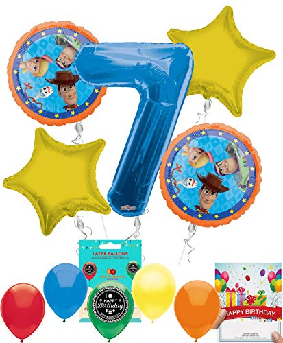 Toy Story 4 Party Supplies Balloon Decoration Bundle with Birthday Card for 7th Birthday]()