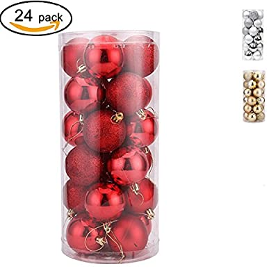 24 Pcs Christmas Ball Ornament Colorful Shatterproof Christmas Tree Balls for Holiday Wedding Party Decoration