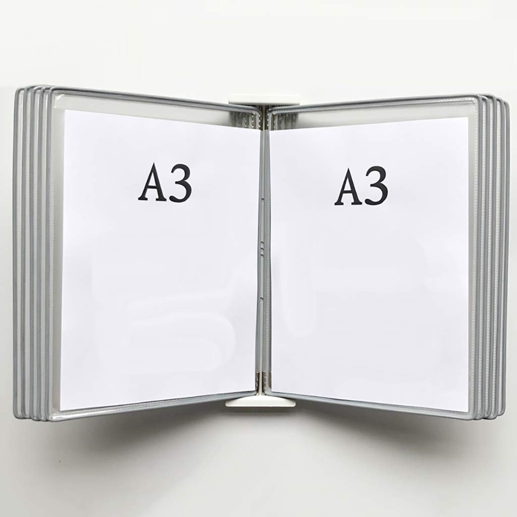 QSJY File Cabinets Wall Mounted A3 Poster Flip Book Display Black,Wall-Mounted Loose-Leaf Transparent Page Display Stand (PVC + Metal) 453310CM (Color : E) by QSJY File Cabinets
