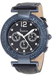 Freelook Women's HA1335B-6 Blue Chronograph Dial With Stones And Swarovski Bezel Watch