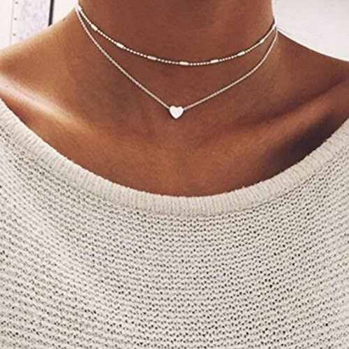 Double Layered Heart Pendant Necklace,Haluoo Women Fashion Delicate Beads Tassel Choker Necklace Dainty Tiny Love Heart Clavicle Necklace for Girls Ladies Trendy Jewelry (Silver)