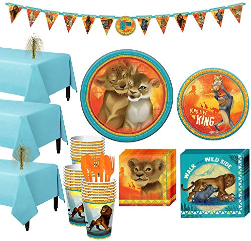 Party City Lion King Tableware Party Supplies for 24 Guests, 214 Pieces, Includes Plates, Napkins, Utensils, Banner -