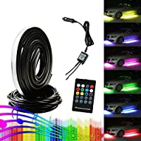 Guaiboshi 4PCS Car LED Neon Underglow Undercar Light Kit Atmosphere Decorative Bar Lights Strip, 5050 SMD Underbody System Waterproof Tube 7 Color with Sound Active and Wireless Remote Control