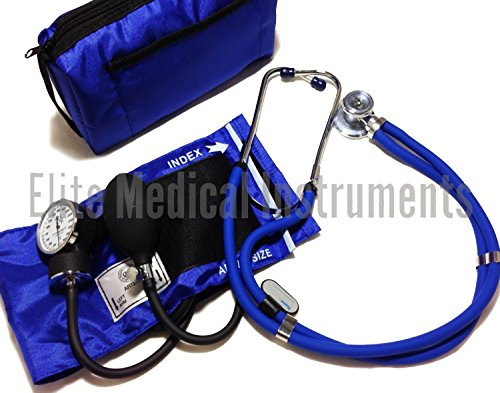 EMI Royal Blue Sprague Rappaport Stethoscope and Aneroid Sphygmomanometer Manual Blood Pressure Set Kit - #330