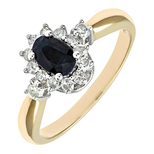 Naava 9ct Yellow Gold Diamond and Sapphire Cluster Ladies Ring