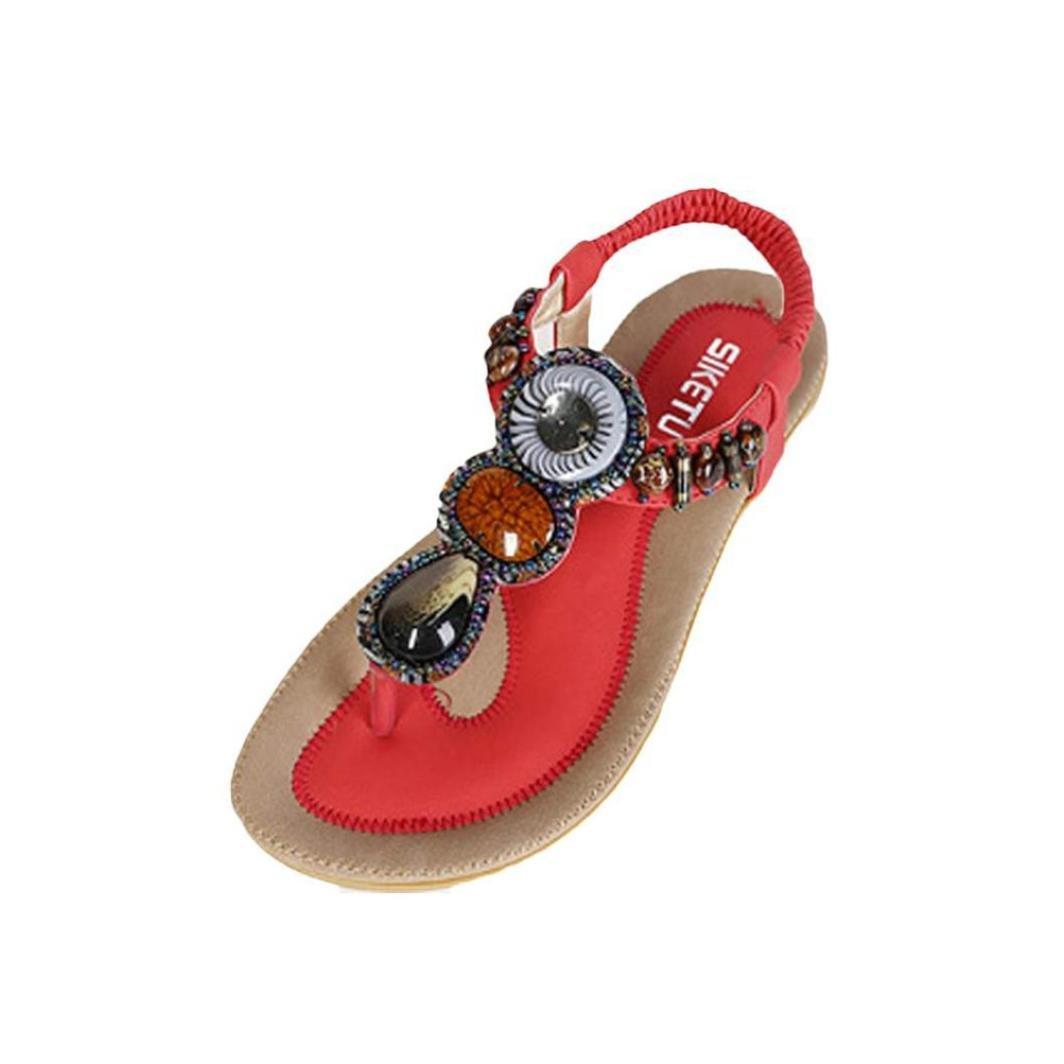 Sandals,Women's Summer Bohemian Beaded Ankle Walking Strap Sandals Size 6 7 8 9 Casual Flip Flops Ladies Beach Sexy Flats Shoes Summer Sandals T-Strap Flip Flops Duseedik (Red, US:8(CN:39))