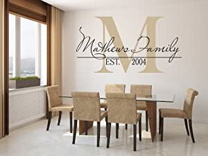 "Family Name Wall Decal Custom Monogram Est Year Living Room Decor with Capital Letter (39"" x 22"")"