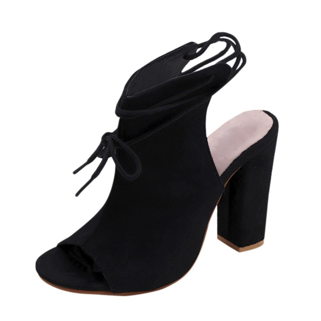Womens Wedges Dress Sandals Fish Head Ankle Strap Peep Toe Platform Summer Shoes (High Heel-Black, US:7.5)