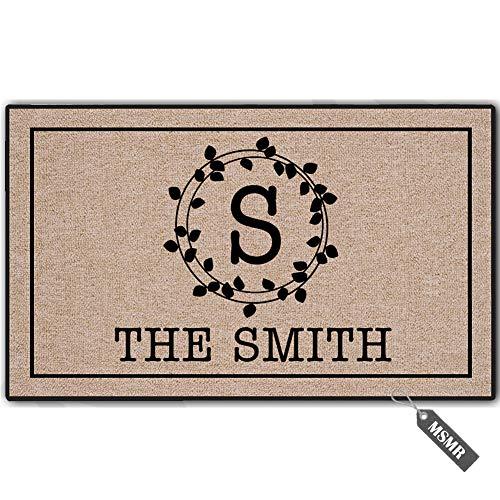(MsMr Welcome Mat Indoor Outdoor Custom Doormat Personalized Your Initial and Family Name Durable Rubber Door Mat Non Slip Backing Entry Way Doormat, 23.6 x 15.7)