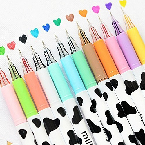 12pcs/pack Multi Colors Colorful Gel Pen Sweet-style Design Pin Type Ink Pen (Milky)