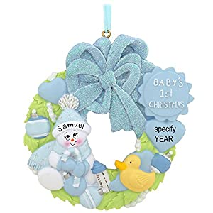 Blue Baby's First Christmas Wreath Personalized Ornament 104
