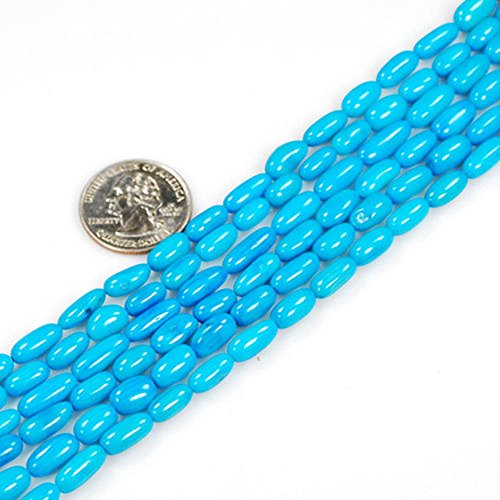 7-11x5mm Blue Sea Bamboo Coral Rice Beads 16