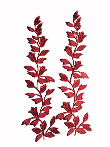 Nylon Lace Applique (Two Flower Leaves Iron on Embroidered Appliques Patch Japanese Chinese (Red))