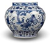 Classic Blue and White Yuan Porcelain Vase, Gui Guzi Descends the Mountain, China Yuan Style, 11'', Free Wood Base