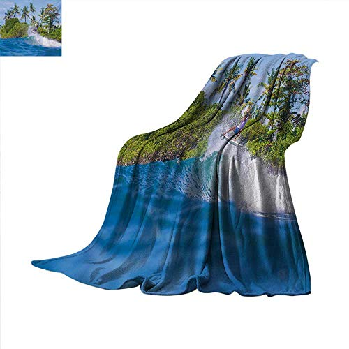 Iron Horse Ride - Ride The Wave Weave Pattern Blanket Surfer in Ocean by Bali Island Palm Trees Dreamy Nature Scenery Summer Quilt Comforter 60