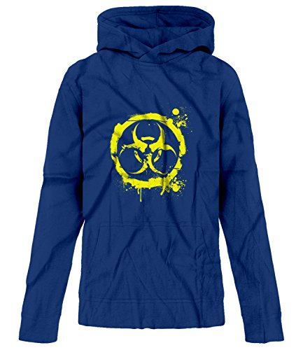 Price comparison product image BSW Youth Biohazard Grunge Paint Splatter Biological CDC Circle Hoodie SM Royal