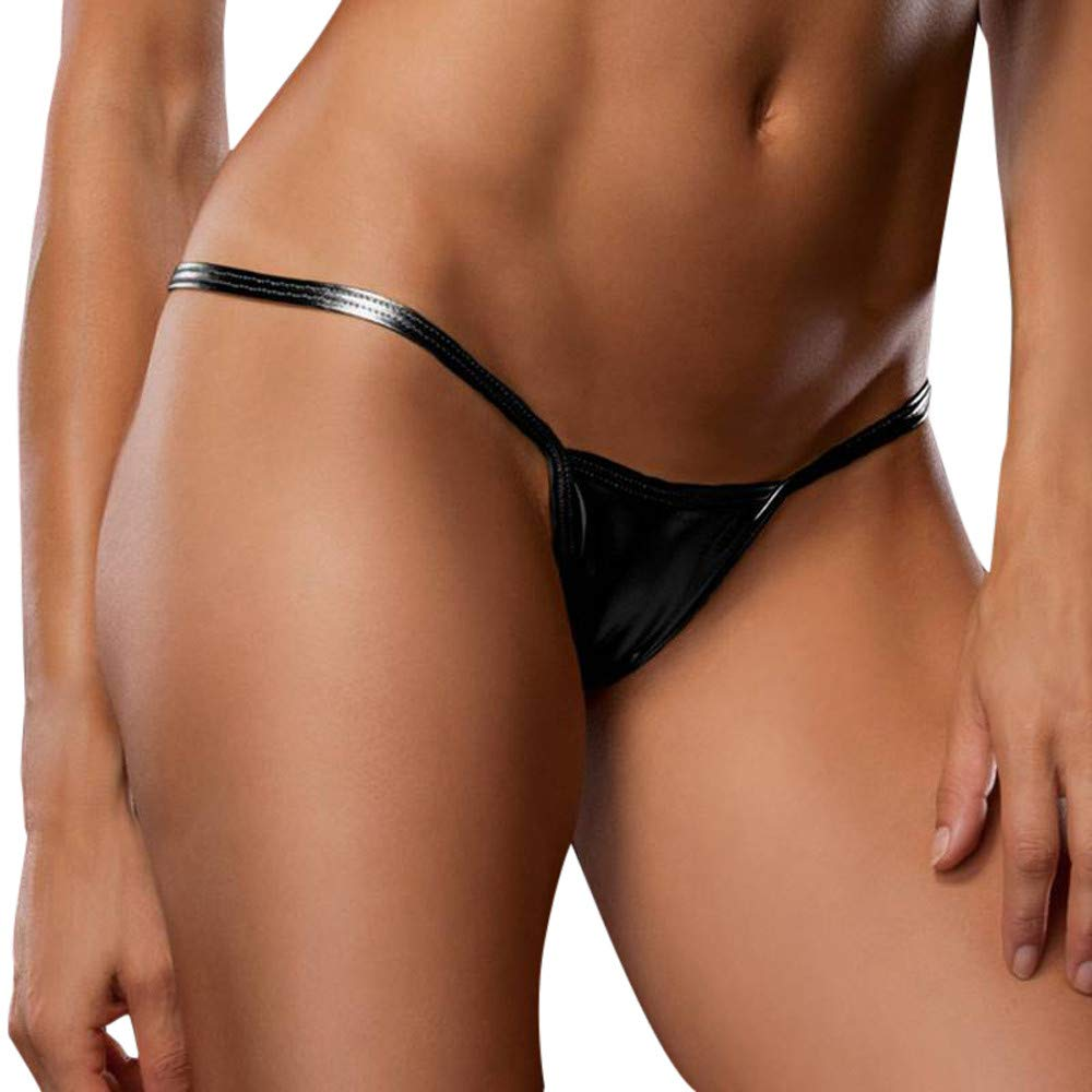 Oasisocean Women's Bare Imitation Leather Low-Waist Sexy G-Strings V String Bikini Thong T Back Shorts Panty Underwear