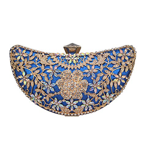 Women Clutch Evening Hollow Out Metal Wedding Sequined Shoulder Bag Bridal Crystal Handbag Purses blue