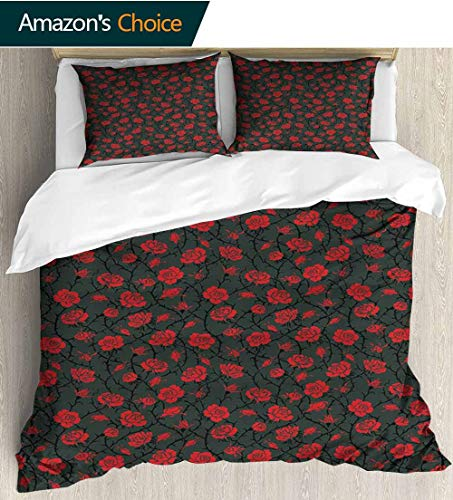 Red and Black 3D Bedding Quilt Set,Rose Swirls Ivy Plants Dark Mysterious Forest Themed Pattern Reversible Coverlet,Bedspread,Gifts for Girls Women 87