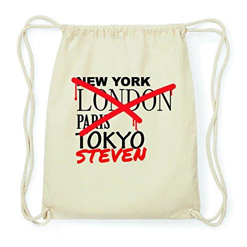 JOllify STEVEN Hipster Turnbeutel Tasche Rucksack aus Baumwolle - Farbe: natur Design: Grafitti