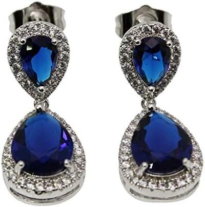 Women Girls Earrings 925 Stamp Silver Sapphire Ruby Garnet Morganite Teardrop