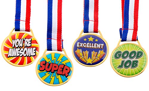 (Medals for Kids – 12-Pack Award Medals with Ribbons for Kids – Participation Medals – School Award - Perfect for School Competitions, Classroom Contests, Games, 4)