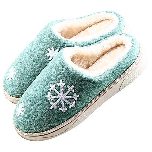 Minetom Unisex Damen Herren Schneeflocken Plüsch Hausschuhe Winter Wärme Weiche Baumwolle Pantoffeln Home Rutschfeste Wärmehausschuhe A-Grün