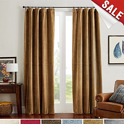 Room Darkening Velvet Curtains 84 Gold Brown Window Drapes for Bedroom, Thermal Insulated Rod Pocket Curtain Panels for Living Room(1 Panel, 84 Inch, Gold - And Brown Gold