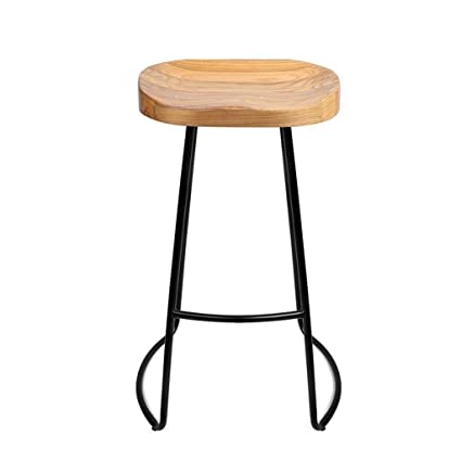 Modern Minimalist Bar Stool Solid Wood Home Bar Stool Creative Coffee Leisure High Stool Retro Wrought Iron High Chair To Assure Years Of Trouble-Free Service Bar Furniture Furniture