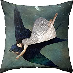 Yoler Pillow Case Decorative Fly Girl Art Outdoor Sofa Cushion Satin Bright Colorful Painting Pillowcases
