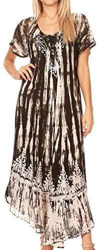 Cap Sleeve Cover - Sakkas 16601 - Ronny Lace Embroidered Cap Sleeve Tie Dye Wash Caftan Dress/Cover up - Black - OS