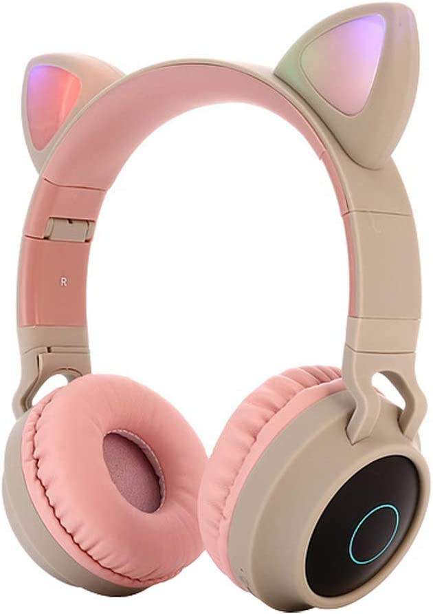RONSHIN Cute Cat Ear Bluetooth 5.0 Headphones Foldable On-Ear Stereo Wireless Headset with Mic LED Light Support FM Radio/TF Card/Aux in for Smartphones PC Tablet Pink Gray