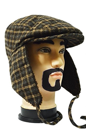 Brown Plaid Cool Thick Paperboy Earflap Driving Ivy Winter Warm Casual Cap Hat