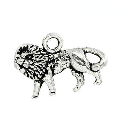 Paquet 10 x Argent Antique Tibétain 18mm Breloques Pendentif (Lion) - (ZX13310) - Charming Beads