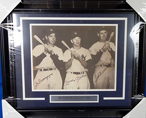 Mickey Mantle, Joe DiMaggio & Ted Williams (Graded 10) Signed Framed 11x14 Photo - PSA/DNA Authentic