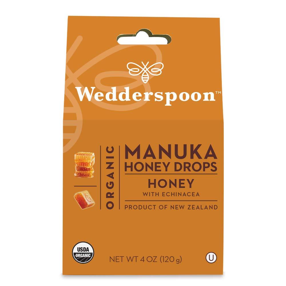 Wedderspoon Organic Manuka Honey Drops, Honey + Echinacea, Unpasteurized, Genuine New Zealand Honey, Perfect Remedy For Dry Throats, 4.0 Ounce