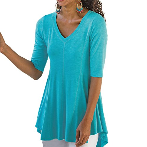 Ancapell Women's Half Sleeve Tunic Tops V Neck Casual T Shirt for Women Blouses