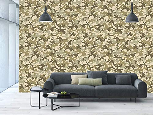 Funky Wall Mural Sticker [ Camouflage,Faded Color Soldier Uniform Pattern Classic Camo Grunge Vintage Fashion Decorative,Khaki Olive Green ] Self-adhesive Vinyl Wallpaper / Removable Modern Decorating