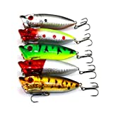 Hengjia 5pcs/lot top water popper plastic fishing lures wobble bass crank fishing baits tackles 6.5cm 13g Review
