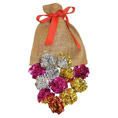 Giggle Pets Cat Crinkle Balls - 12 Pack Multi Colored Mylar Foil Balls. Comes in a Red Ribbon Tied Gift Bag. Perfect Gift for Your Cat or Kitten