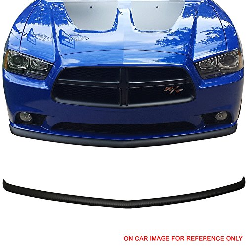 Front Bumper Lip Fits 2011-2014 Dodge Charger | OEM Style Black PP Front Lip Finisher Under Chin Spoiler Add On by IKON MOTORSPORTS | 2012 - Style Bumper Charger Front