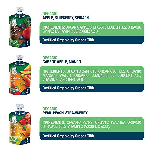 51bcBpd3j3L - Gerber Organic 2nd Foods, Fruit & Veggie Variety Pack Pureed Baby Food, 3.5 Ounce Pouch, 18 Count (Packaging May Vary)