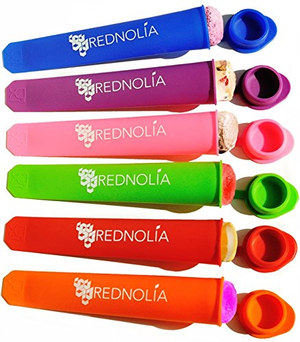 Rednolia Popsicle Molds and Ice Pop Maker with Attached Lids - Bonus Ice Pop Mold Recipes Included - Multi-Color. [Set of 6]