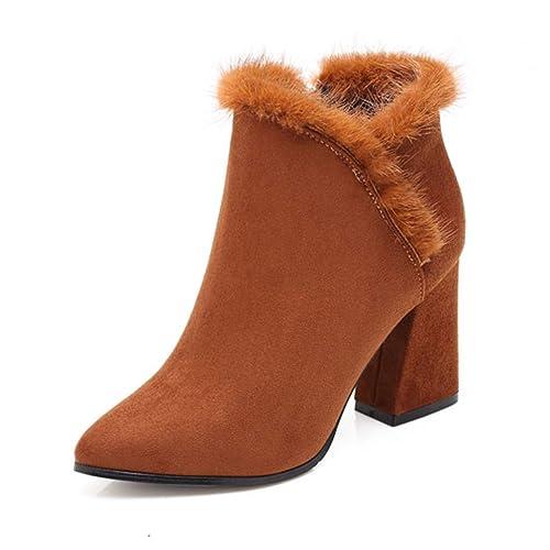 Botines para Mujer Gamuza Cuadrados Tacones Altos Moda Puntiagudos Botas cómodas: Amazon.es: Zapatos y complementos