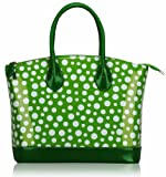 Ladies Green White Patent Polka Dot Designer Fashion Handbag Tote – KCMODE, Bags Central
