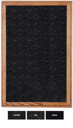 Ghent 24''x18'' 1-Door indoor Enclosed Recycled Rubber Bulletin Board, Shatter Resistant, with Lock, Wood Frame Walnut Finish-Black (PN12418TR-BK), Made in the USA by Ghent